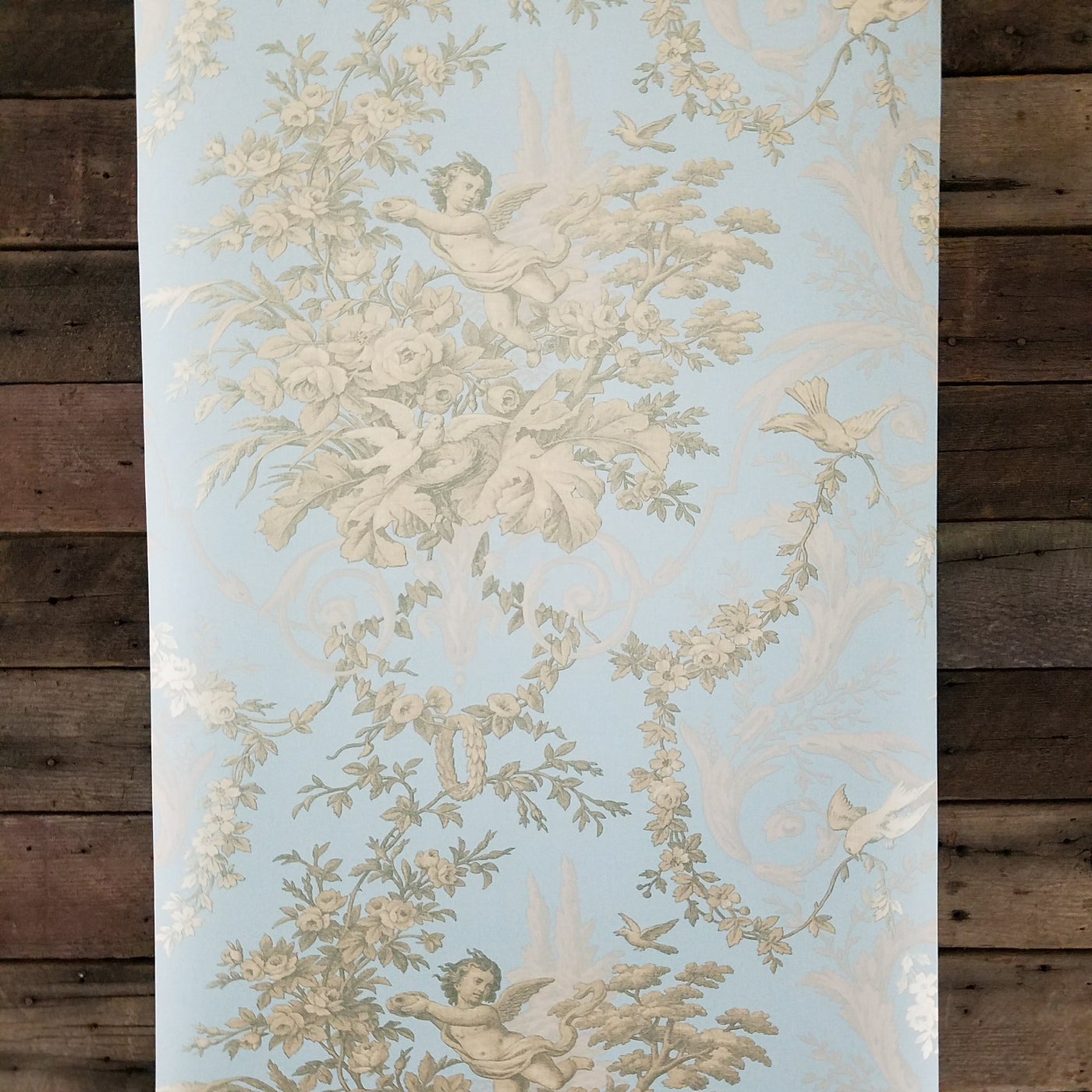 Victorian Cherub Floral In Blue Gold Wallpaper Ch28309 D