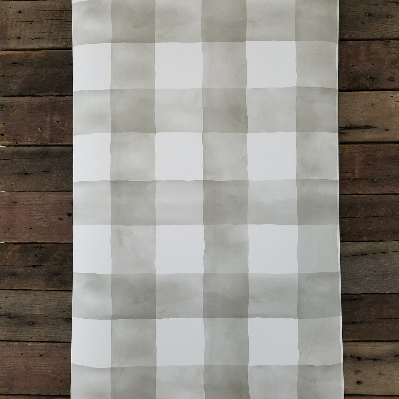 Magnolia Home Watercolor Buffalo Check Gray And White Plaid Wallpaper