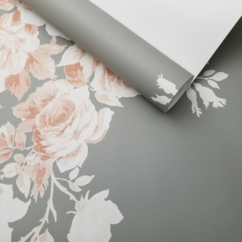 Magnolia Home Tea Rose Gray and Pink Floral Wallpaper