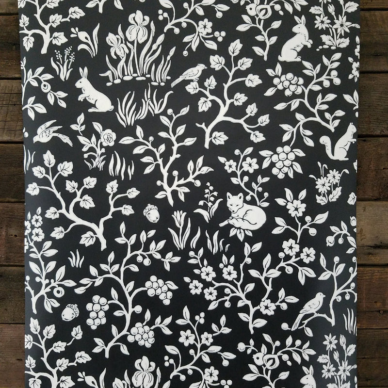 Magnolia Home Fox and Hare Black and White Textured Wallpaper