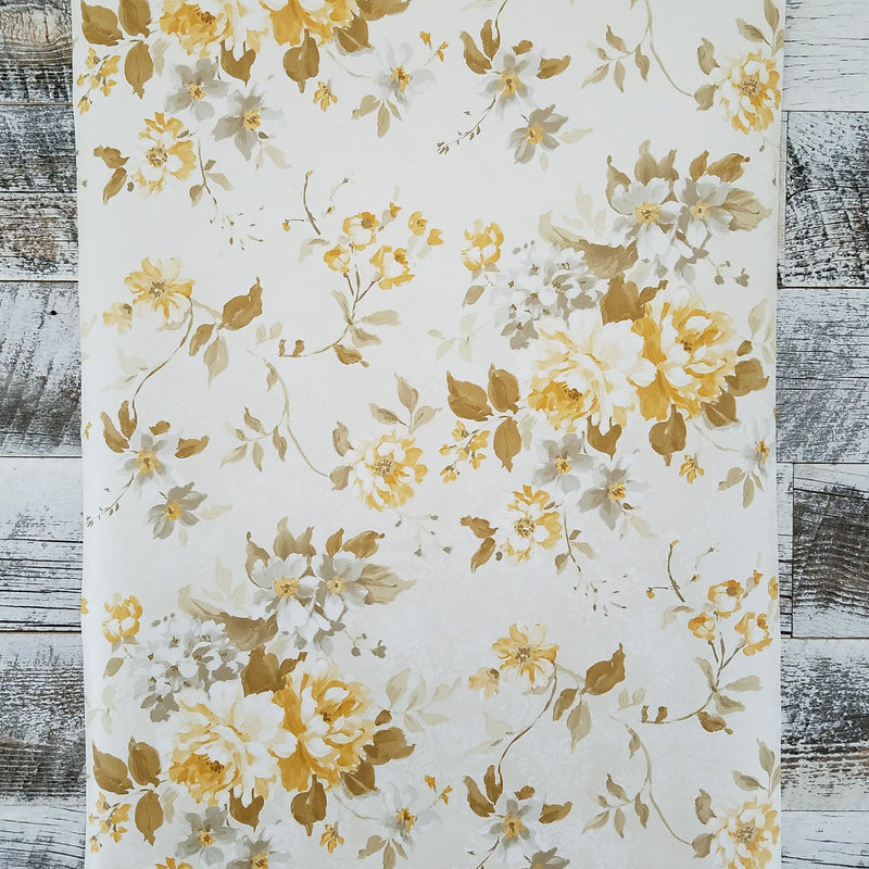 Brewster Rosemore Yellow Eloise Floral Wallpaper
