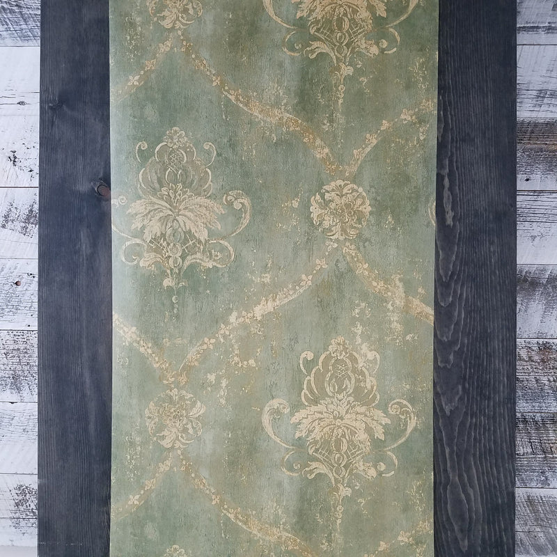 Green & Pale Tan Weathered Damask Wallpaper