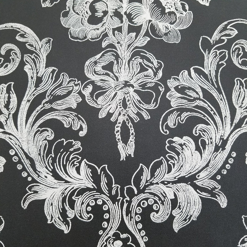 Norwall Victorian Damask in White on Black Wallpaper
