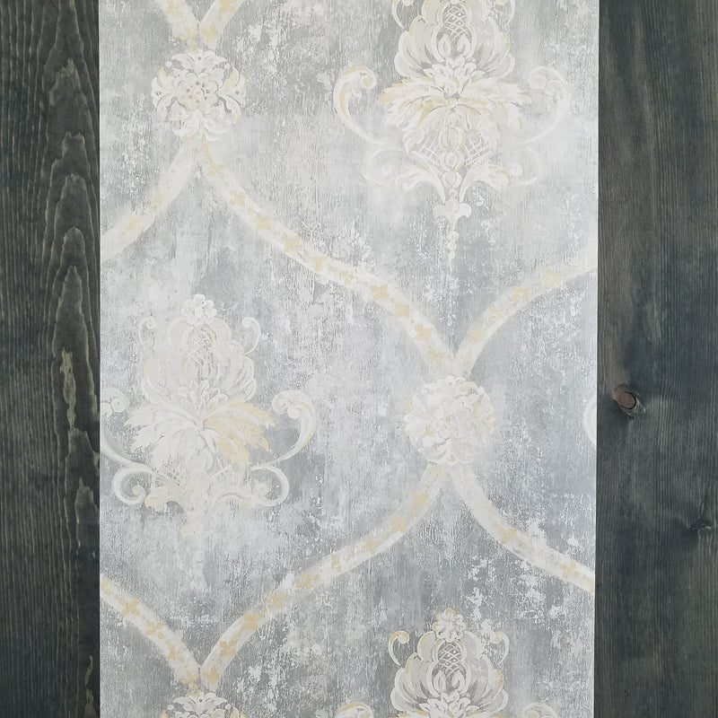 Gray Weathered Damask Wallpaper