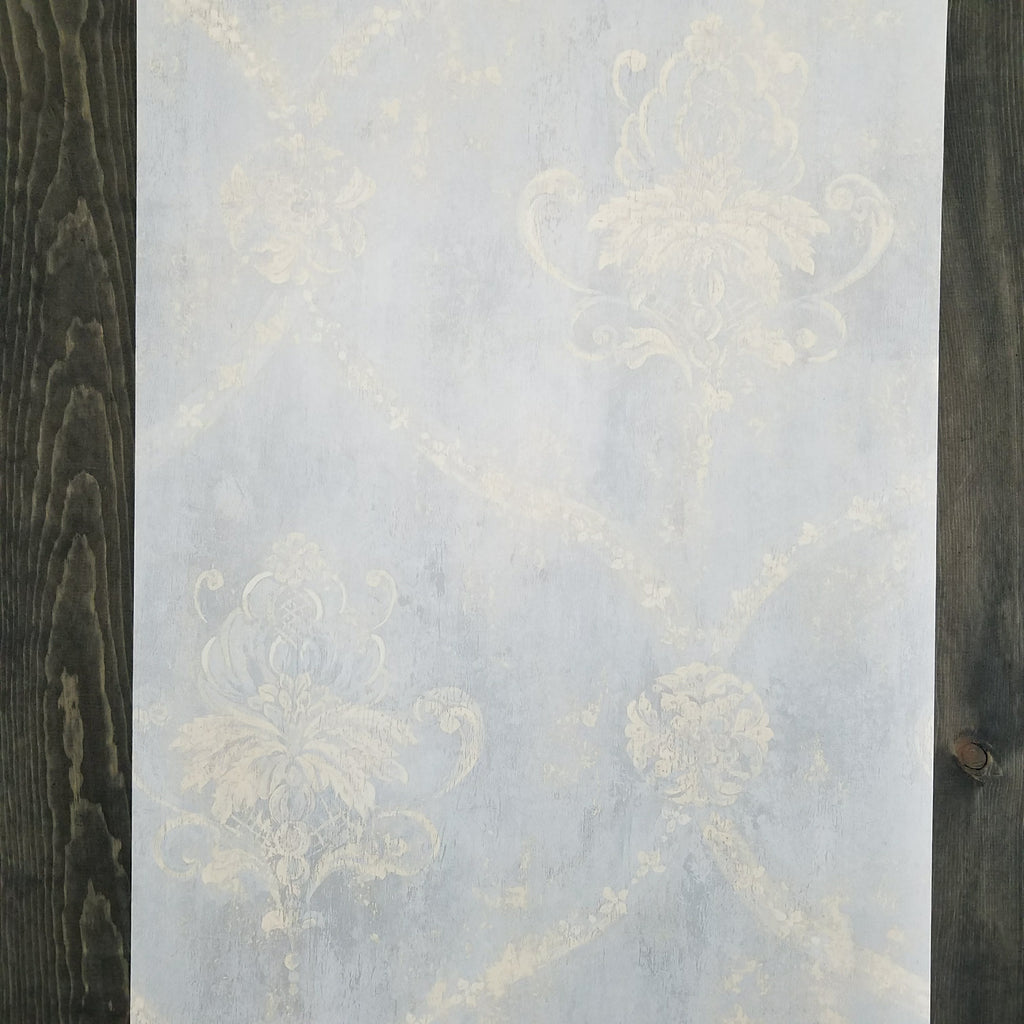 Blue & Cream Weathered Damask Wallpaper