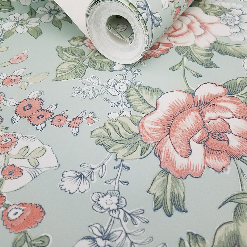 A Street Prints Ainsley Mint Boho Floral Kismet Collection