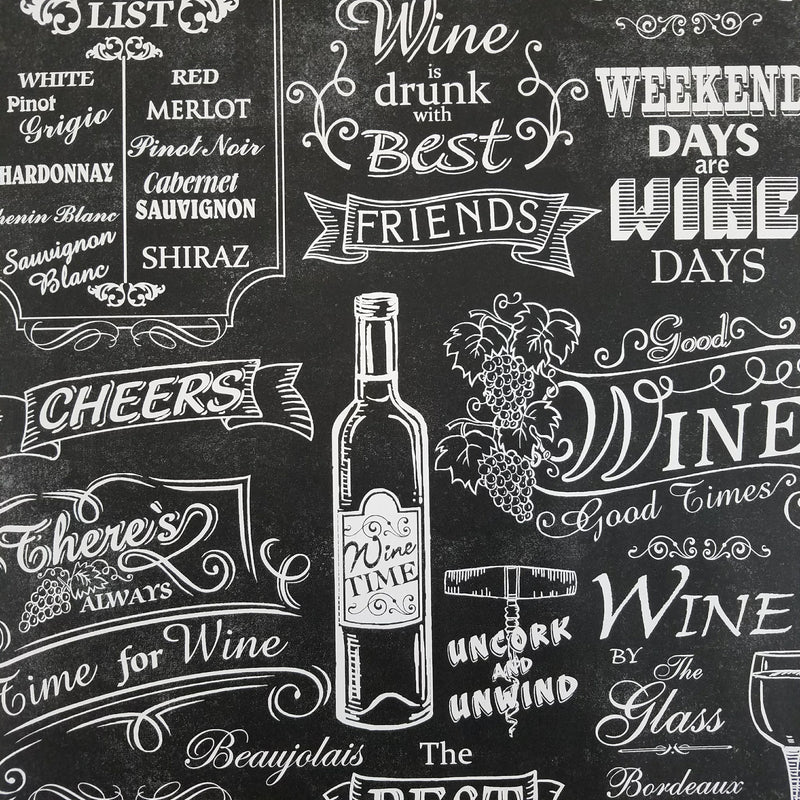 Black and White Chalkboard Wine Wallpaper