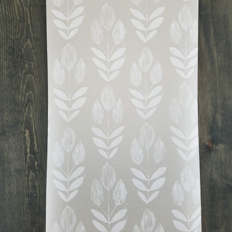 Garland Dove Gray Scandinavian Block Print Tulip Wallpaper