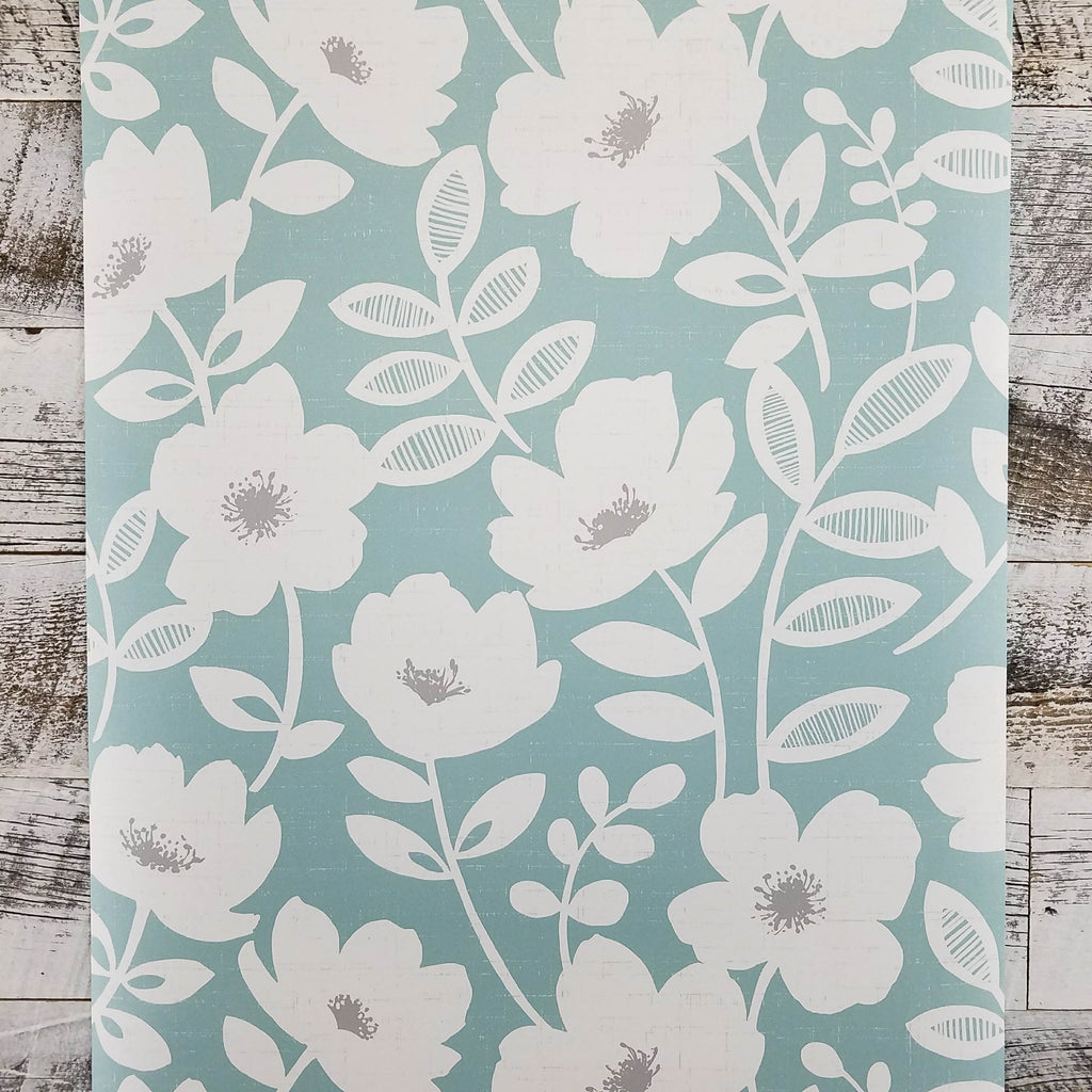 Bergman Teal Scandinavian Floral Wallpaper