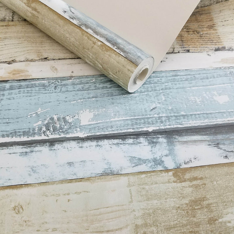 Distressed Blue Weathered Beachwood Wallpaper