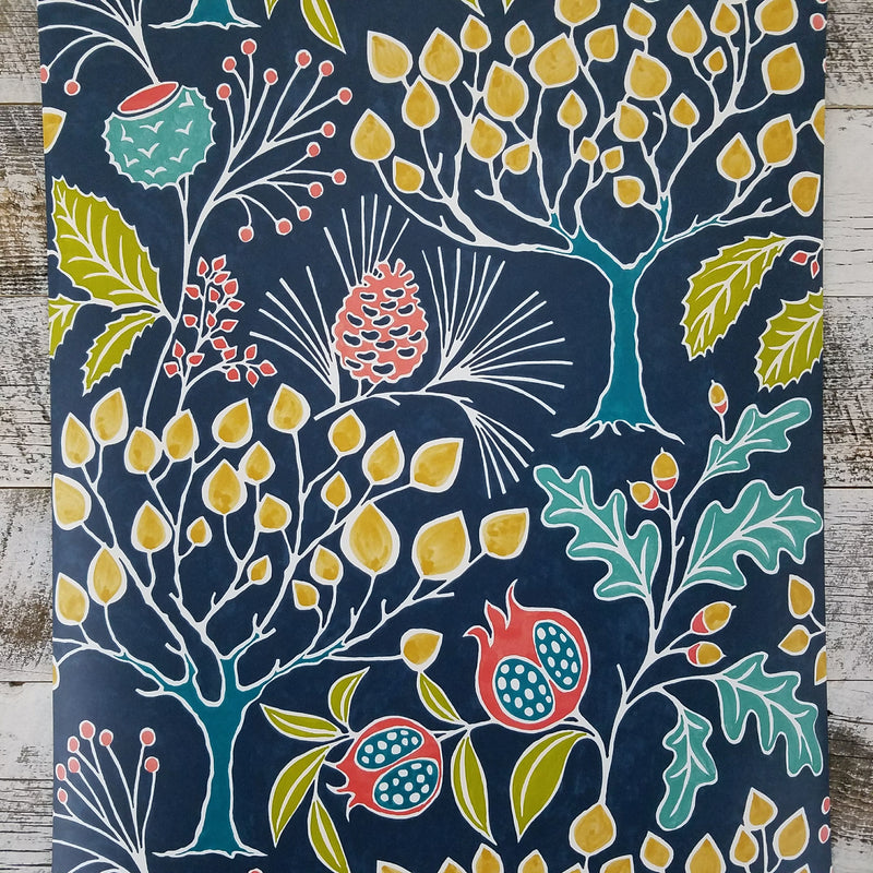 Groovy Garden Navy Peel and Stick Wallpaper