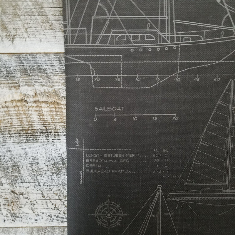 Wallquest Nautical Blueprint Sail Boat Wallpaper