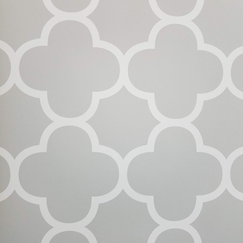 A Street Prints Origin Grey Quatrefoil Wallpaper