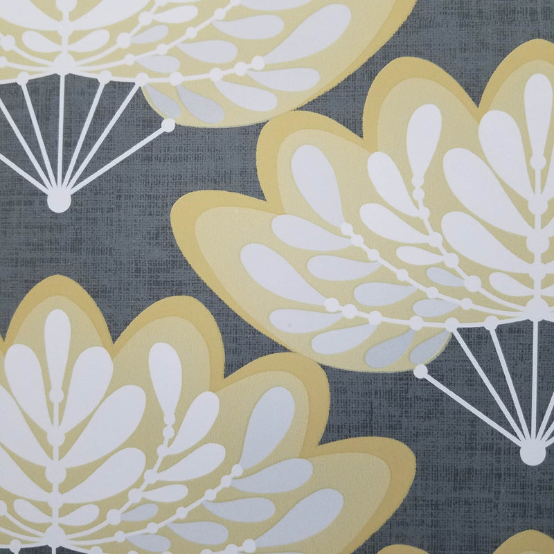 Lotus Mustard Floral Fans Wallpaper