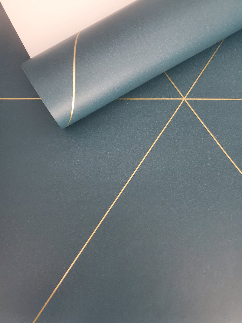 Twilight Teal Modern Geometric Wallpaper