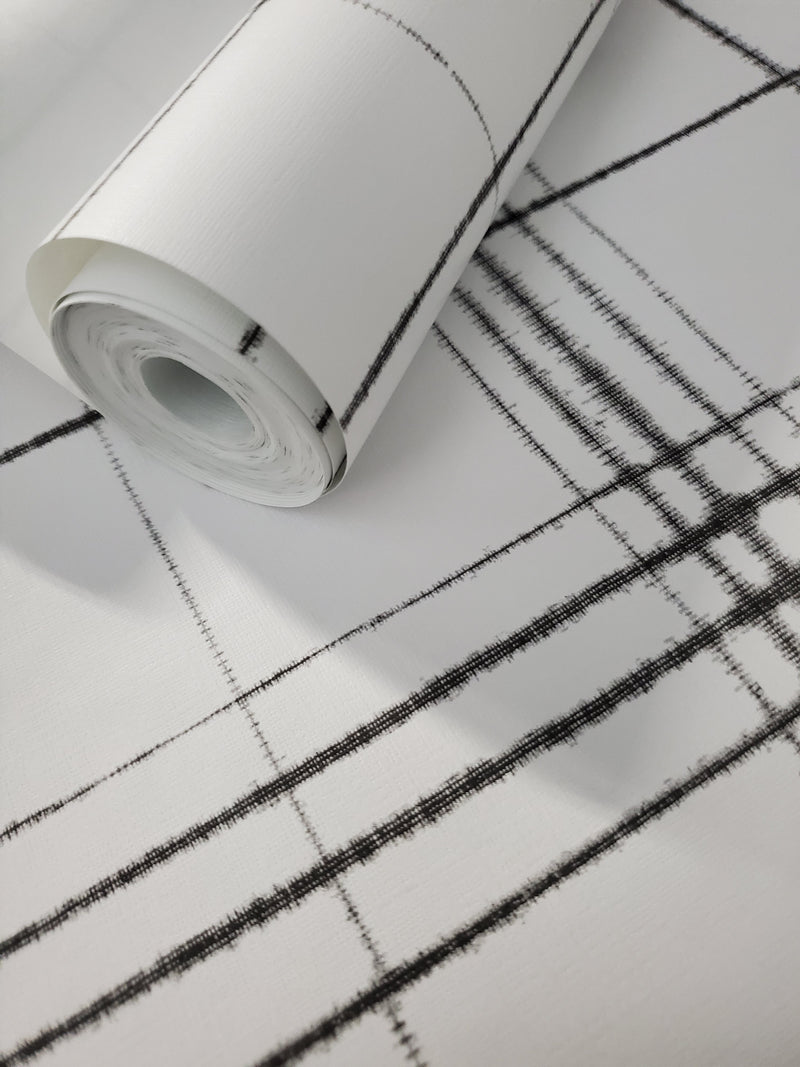 York Farmhouse Plaid Black and White Wallpaper