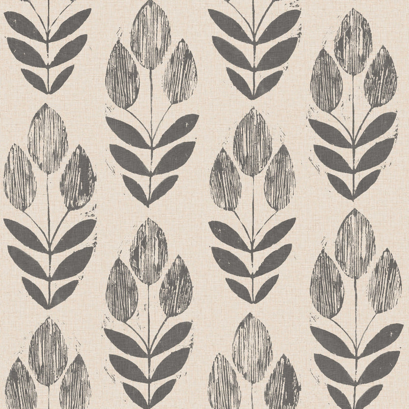 Black Scandinavian Block Print Tulip Wallpaper