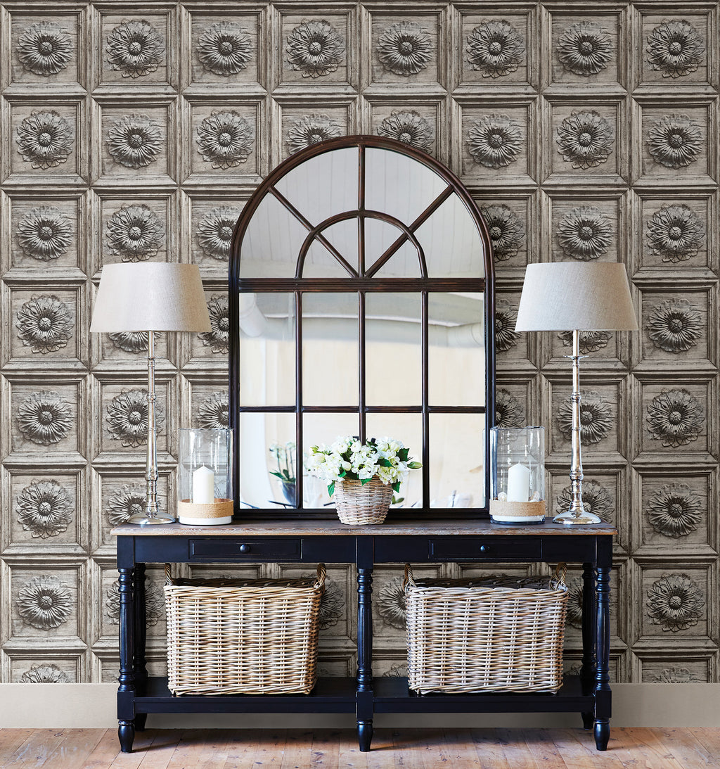 Brewster Vintage 3D Ravenswood Gray Wood Faux Panel Wallpaper