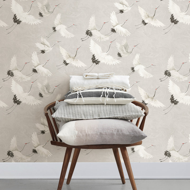 A Street Prints Windsong Gray Crane Contemporary Wallpaper