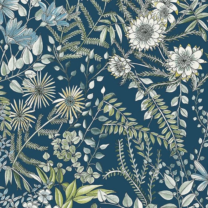 A Street Prints Full Bloom Navy Blue Floral Wallpaper