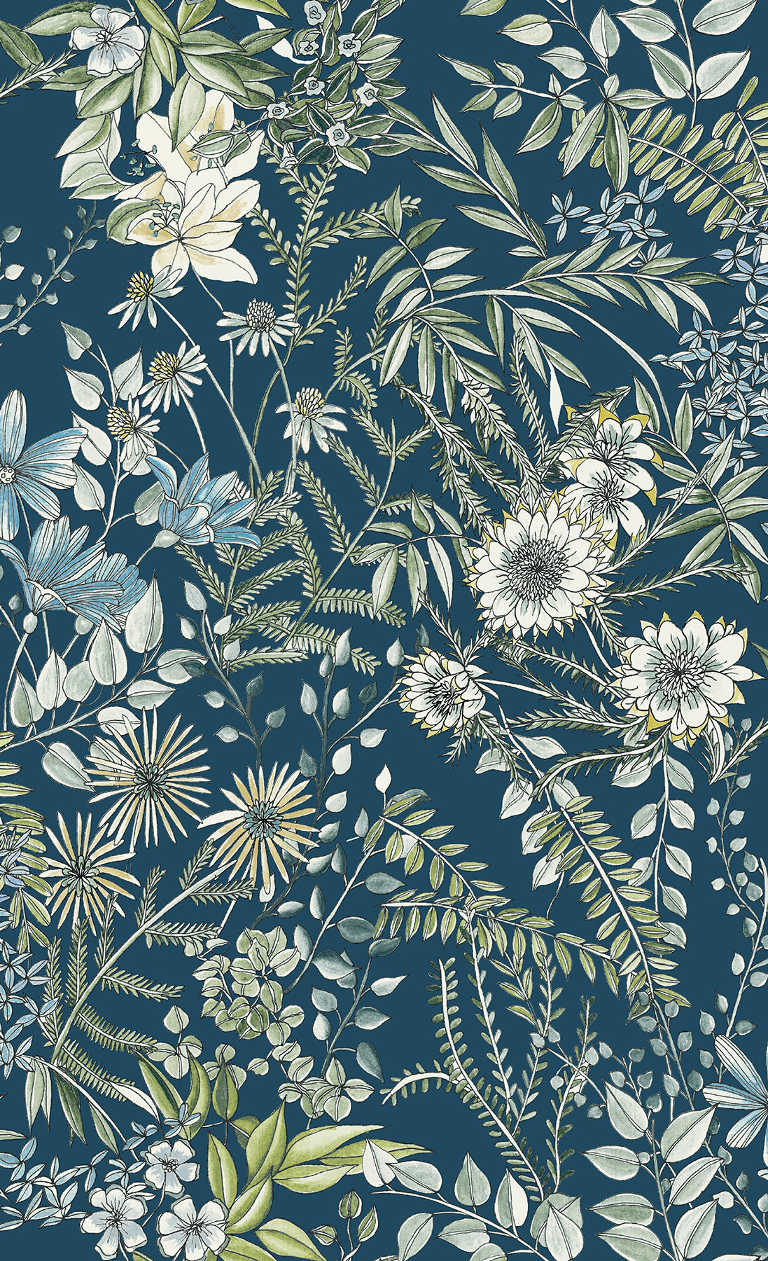 A Street Prints Full Bloom Navy Blue Floral Wallpaper D Marie