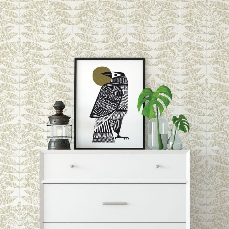 A Street Prints Akira Dove Leaf Gray and White Wallpaper