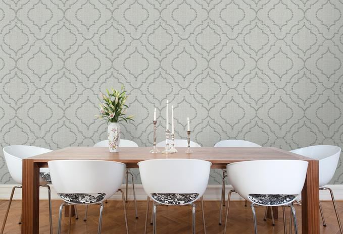 Garett Light Gray Riveted Quatrefoil