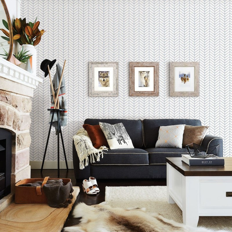 Bison Taupe Herringbone Wallpaper