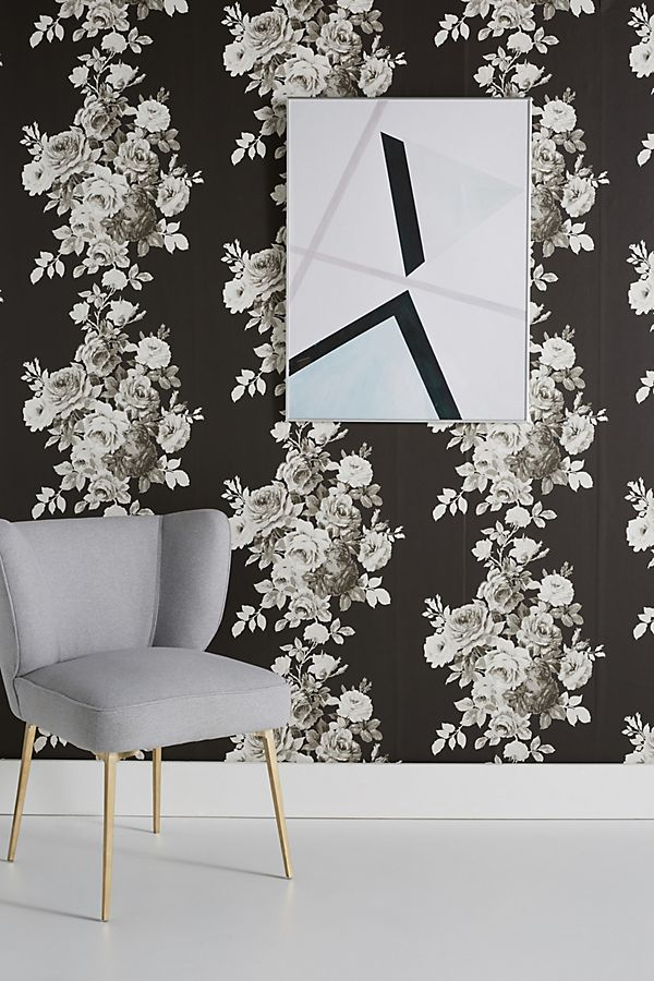 Magnolia Home Tea Rose Black and White Floral Wallpaper