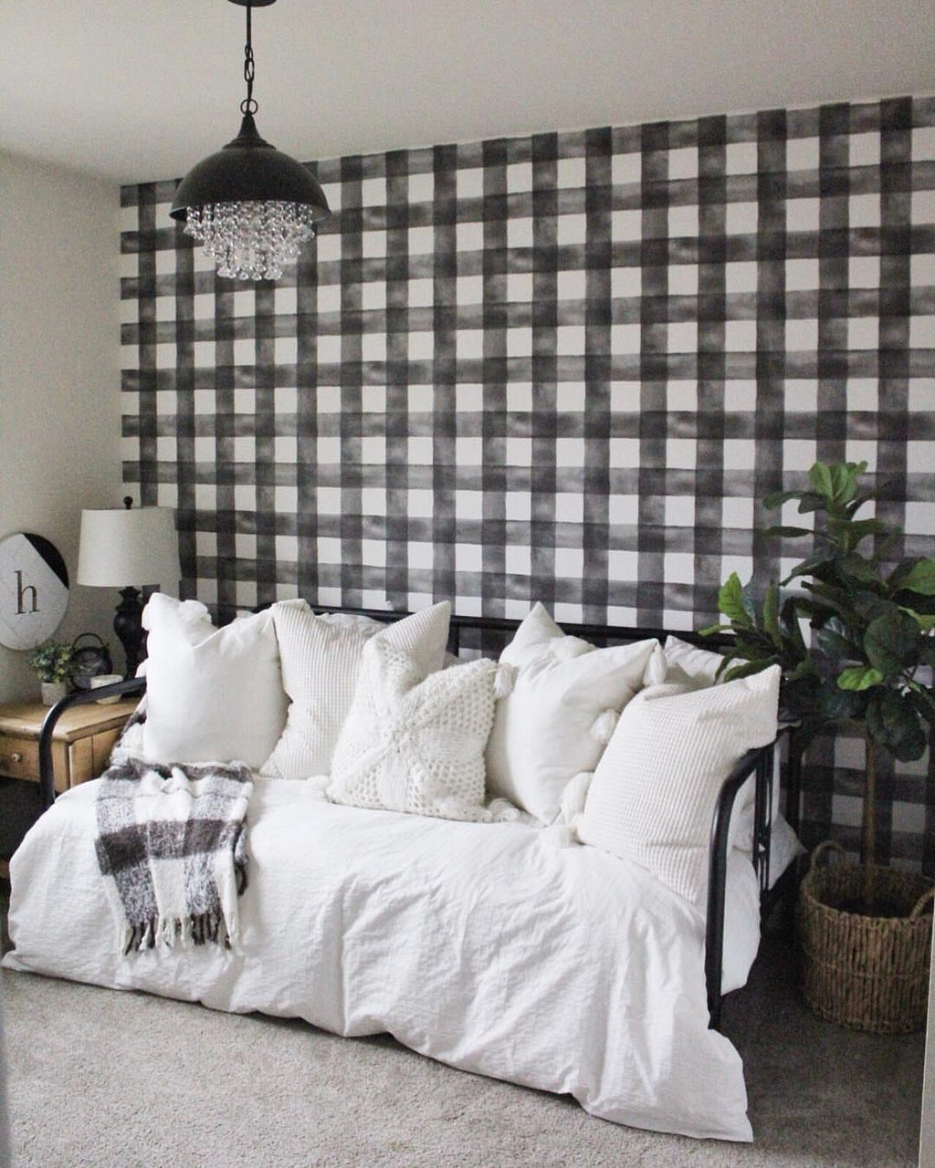 Magnolia Home Buffalo Check Black and White Wallpaper
