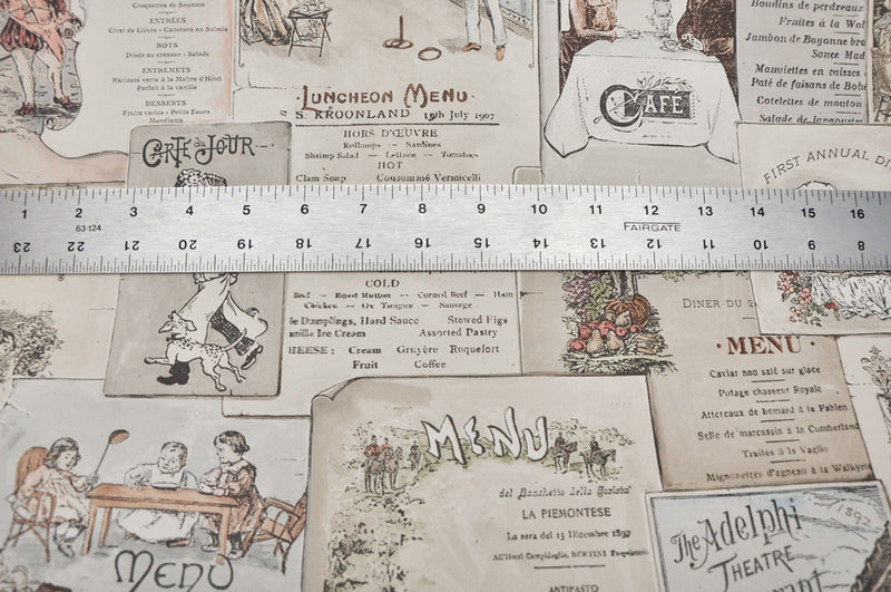 Norwall French & English Antique Bistro Menus Kitchen Wallpaper