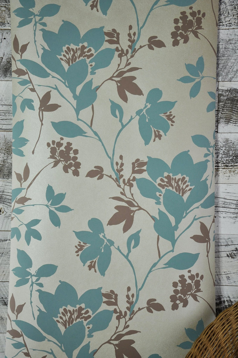 Carina Aqua Silhouette Floral Kenneth James Wallpaper