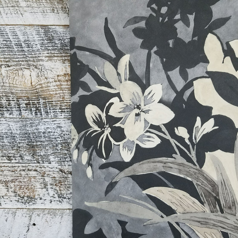 Maya Tropical Black and Gold Floral Wallpaper