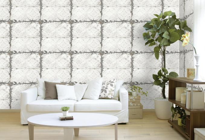 Wallpops Vintage White Tin Ceiling Tile Wallpaper
