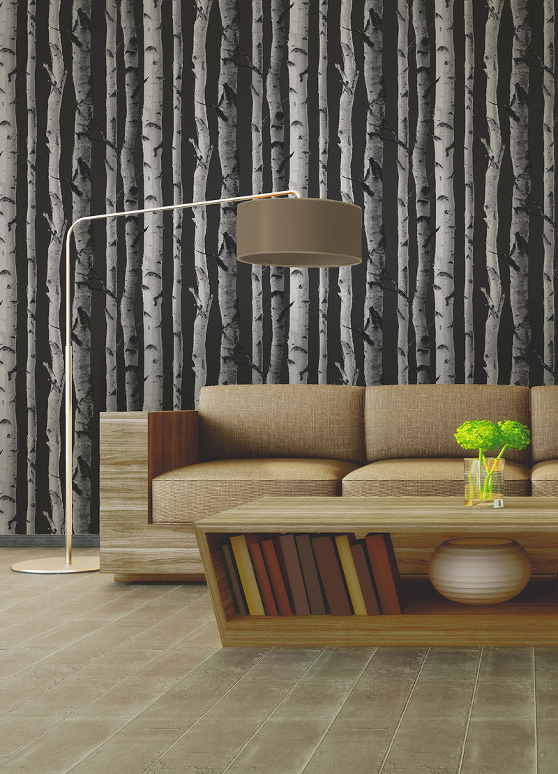 Brewster Distinctive Black Birch Tree Wallpaper