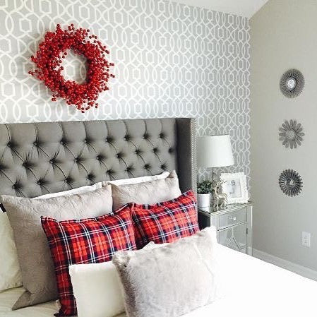 WallPops Gray Grand Trellis Peel and Stick NU Wallpaper