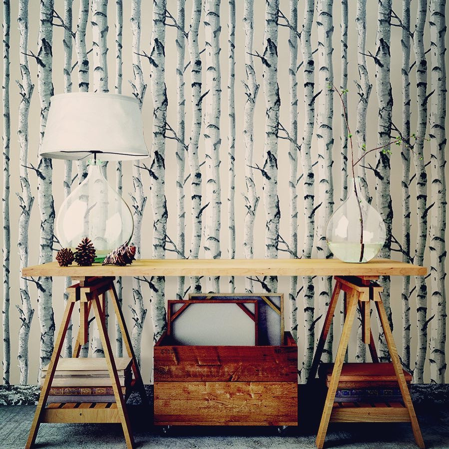 Birch trees nu wallpaper peel stick wallpaper nu1650 d - Birch tree wallpaper peel and stick ...