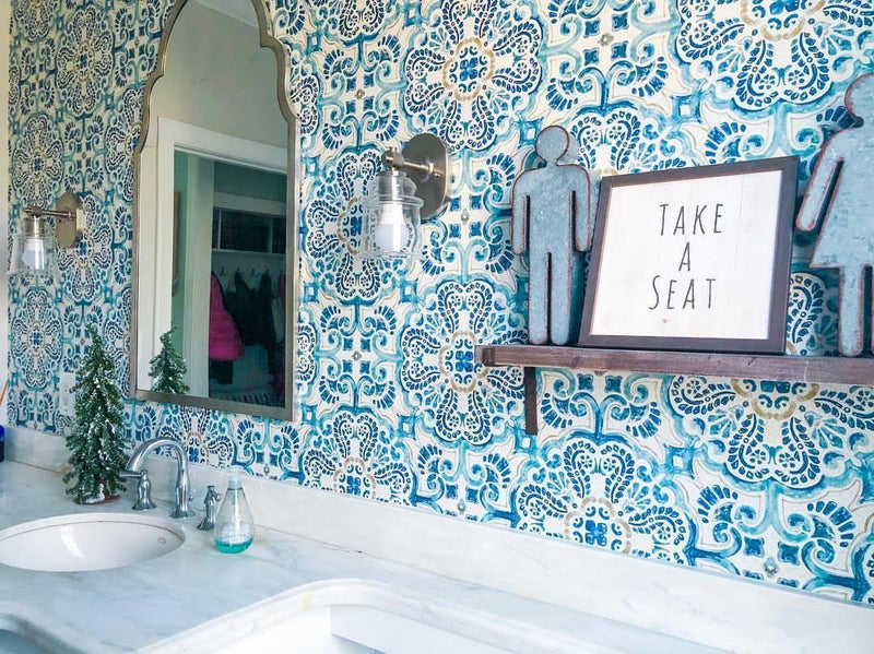 Blue Florentine Medallion Faux Tile Wallpaper