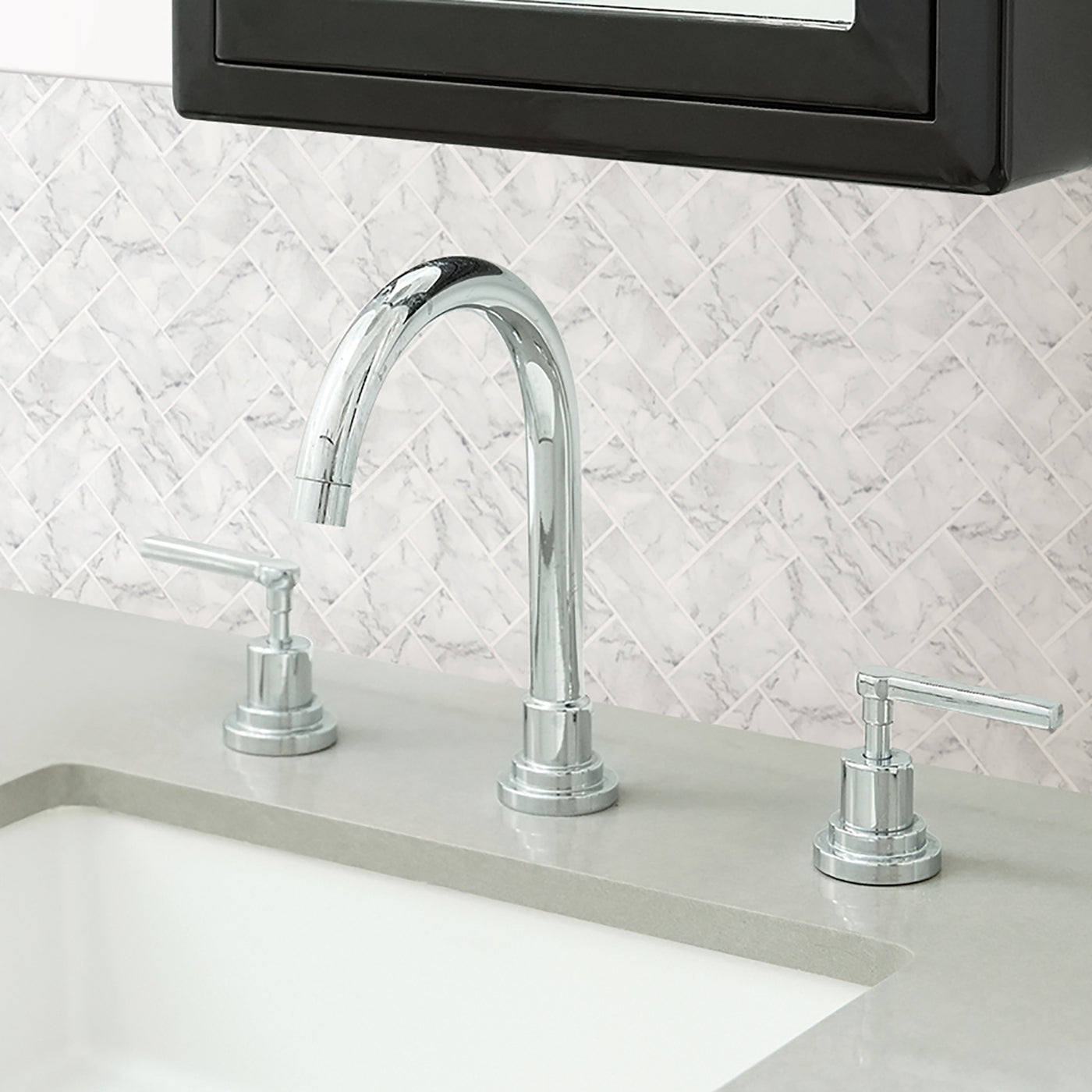 Wallpops Herringbone Carrara Marble Peel and Stick Backsplash Tile ...