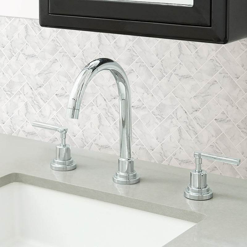 Wallpops Herringbone Carrara Marble Peel and Stick Backsplash Tile
