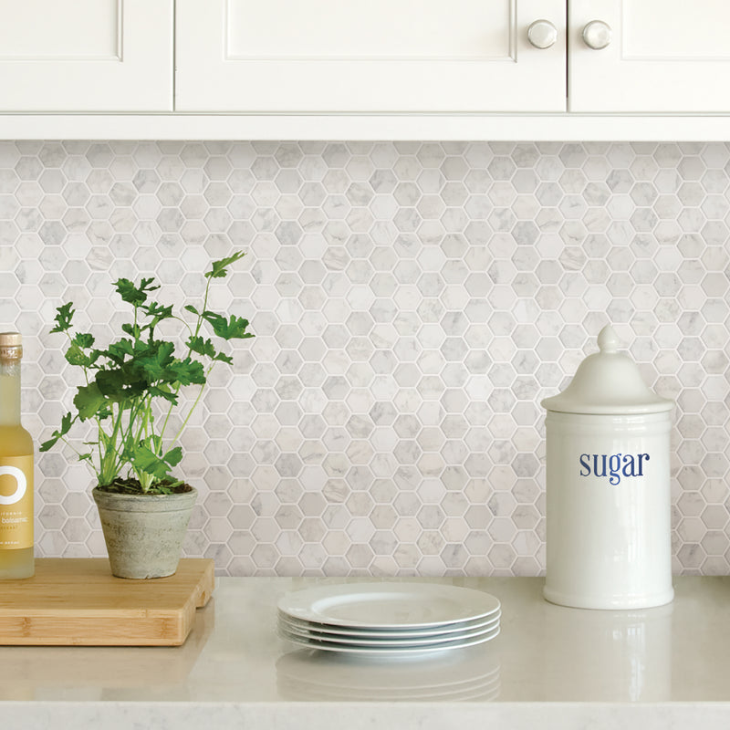 Wallpops Hexagon Marble Farmhouse Peel and Stick Backsplash Tile