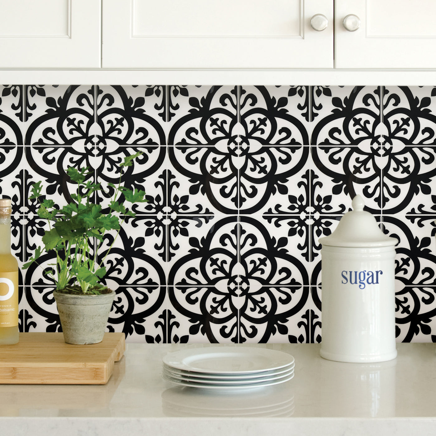 - Wallpops Avignon Black And White Peel And Stick Backsplash Tile