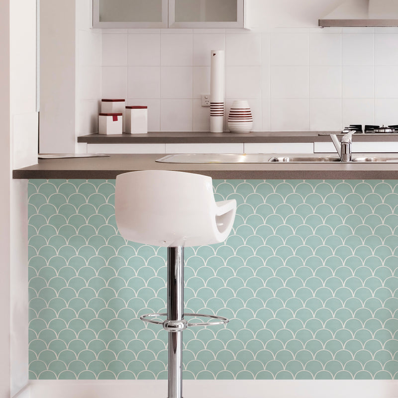 Wallpops Mint Shell Peel and Stick Backsplash Tile