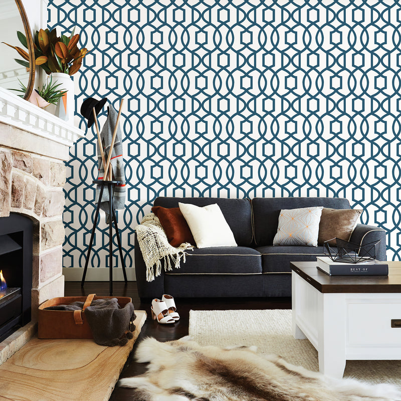 WallPops Navy Blue Links Peel and Stick Wallpaper