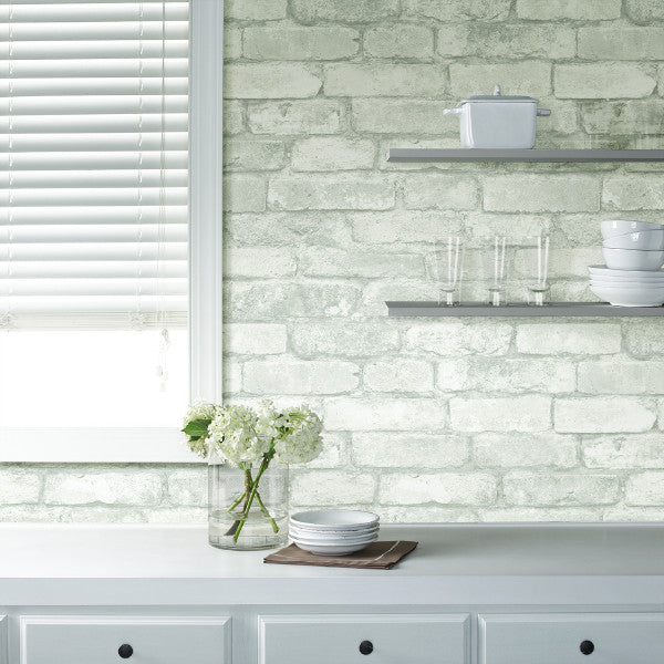 White Brick Wallpaper Kitchen: Gray Brick Peel And Stick Wallpaper NU1653