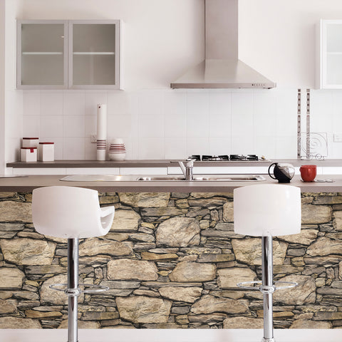Hadrian 3D Ledger Stone Wall Peel and Stick Wallpaper NU2065