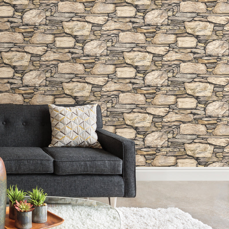WallPops Hadrian 3D Ledger Stone Wall Peel and Stick Wallpaper