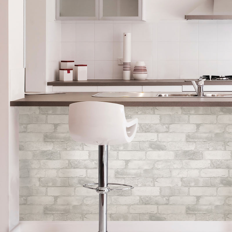Loft White Brick Peel and Stick Wallpaper
