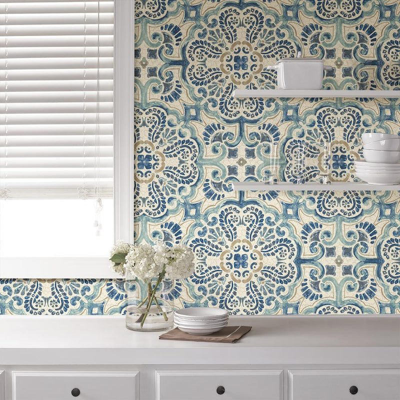 WallPops Blue Florentine Medallion Tile Wallpaper