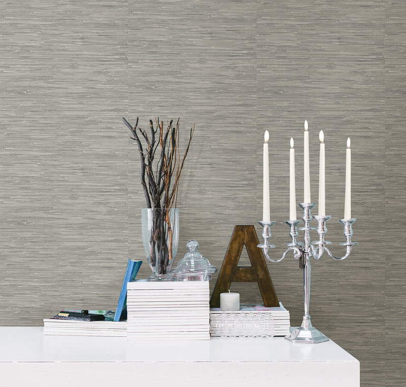 Contemporary Gray Faux Grasscloth Wallpaper